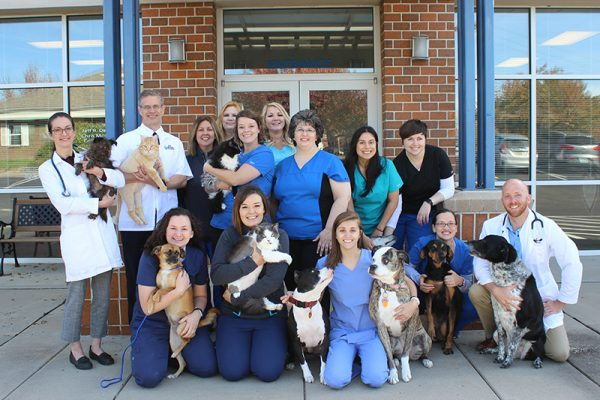 Ark Animal Hospital Team member group photo. The team members are pictured with their pets